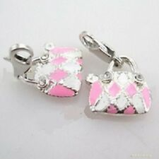 Sterling Silver Plated PINK & WHITE PURSE HANGING CHARM w/ Lobster Claw Clasp