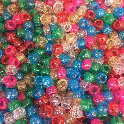 Glitter Mix Pony Beads 9x6mm Dummy Clips Pram Charms Craft Beads ALL AMMOUNTS