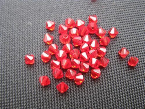 40 rodé perles Double Cône 4mm rouge 10578