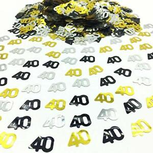 Black-Gold-amp-Silver-40th-Birthday-Party-Table-Confetti-Decorations-Age-Sprinkles