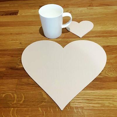 """6 or 8 27cm 10.5/"""" Heart Shaped Mocha Brown Mat Acrylic Placemats /& Coasters 4"""