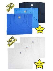 12 Mens Vests 100/% Cotton Interlock Singlets Underwear All Sizes White Blue