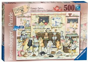 Ravensburger 500 piece jigsaw puzzle CRAZY CATS...VISIT KITTY'S CAKES