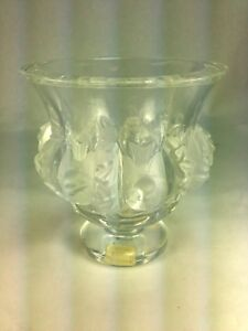 Elegant-Lalique-Crystal-Dampierre-Vase-Bowl-Frosted-Birds-amp-Vines