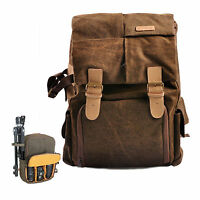 DSLR SLR Camera Waterproof Canvas Backpack Rucksack Bag For Canon Sony Nikon