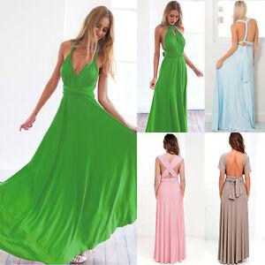 fec1d6317571d Details about NEW Womens Bridesmaid Convertible Wrap Long Maxi Dress  Cocktail Bandage Dresses