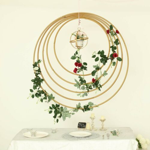 """GOLD 24/"""" wide Round Metal Floral Hoop Wreath Ring Wedding Party Home Decorations"""