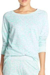 199-Honeydew-Women-Blue-Crew-Neck-Long-Sleeve-Terry-Raglan-Sweater-Sweatshirt-S