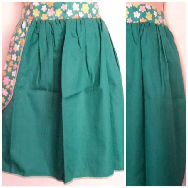 Vintage Half Apron Emerald Green and Floral