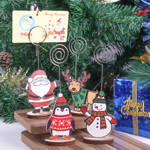 Natural-Christmas-Tree-Photo-Clips-Wooden-Card-Holders-Santa-Claus-amp-Snowman
