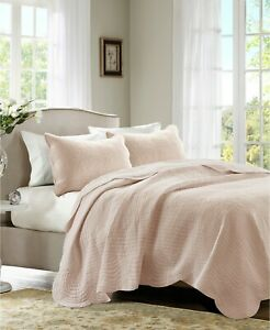 QUEEN FULL Madison Park Tuscany 3-Pc French Cottage Scalloped Coverlet Set