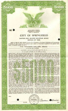 City of Springfield   1966 Kentucky Lincoln Simms $5,000 sewer bond certificate