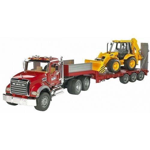 Bruder MACK Granite LKW Tieflader und Caterpillar Bulldozer Baustellenfahrzeug