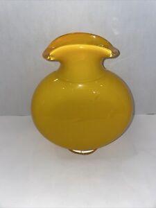 Glass vase yellow vase glass vintage stylish vase