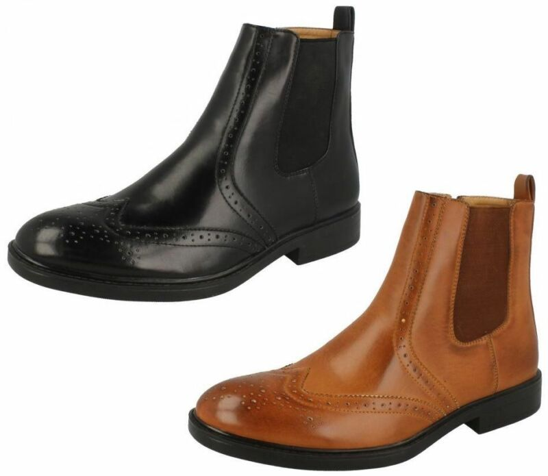 A3050- Mens Maverick Ankle Boots Brogue Detail- Black & Coffee- Great Price!
