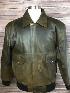 Skipper Mens L Brown Genuine Leather Zip Up Button Front Jacket Coat