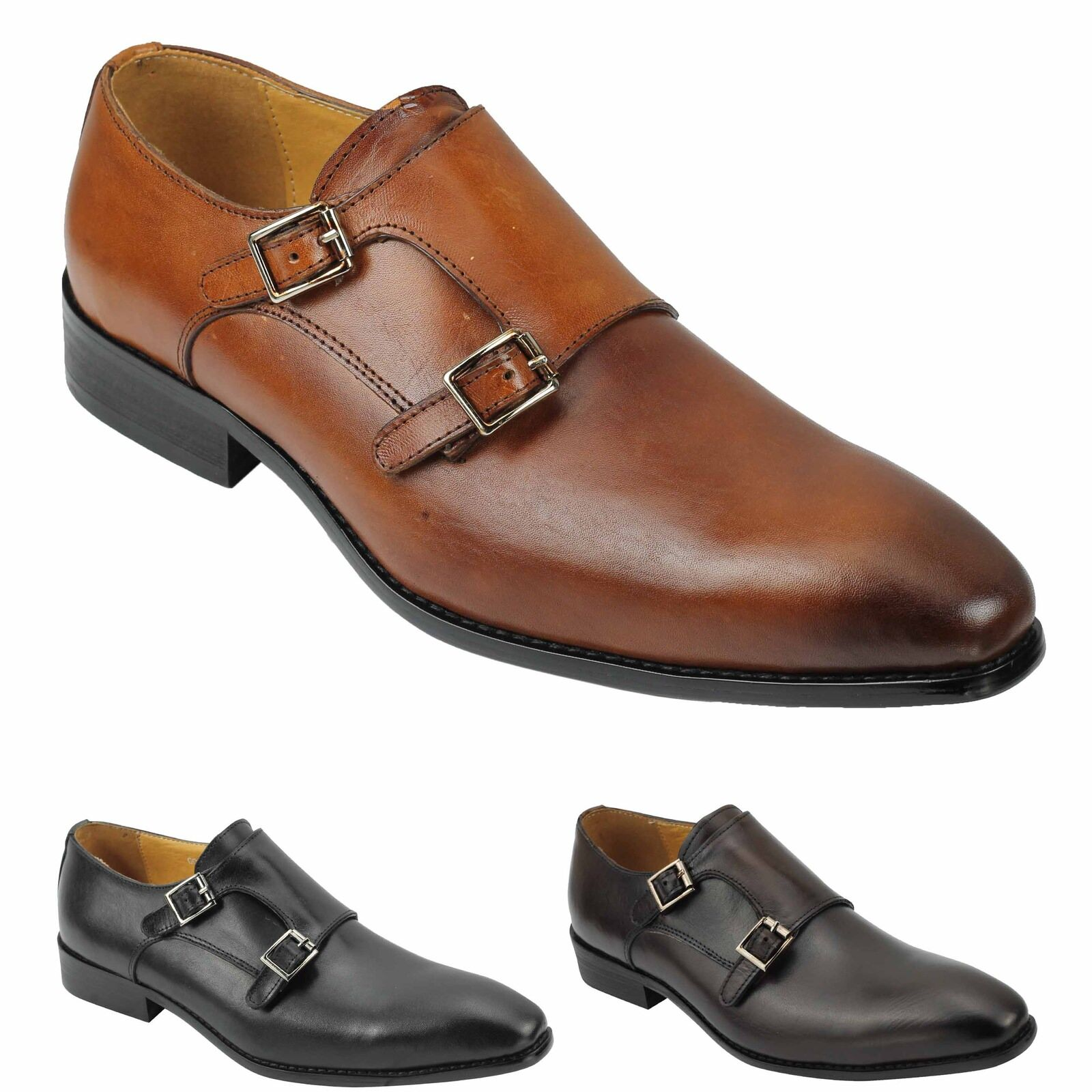 Mens New New Mens Polished Leather Black Brown Classic Monk Straps Vintage Formal Shoes 884161