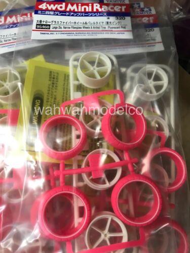 Tamiya 95460 1//32 Mini 4WD JR LG DIA NARROW WHEELS Fiber glass Pink Arched Tires