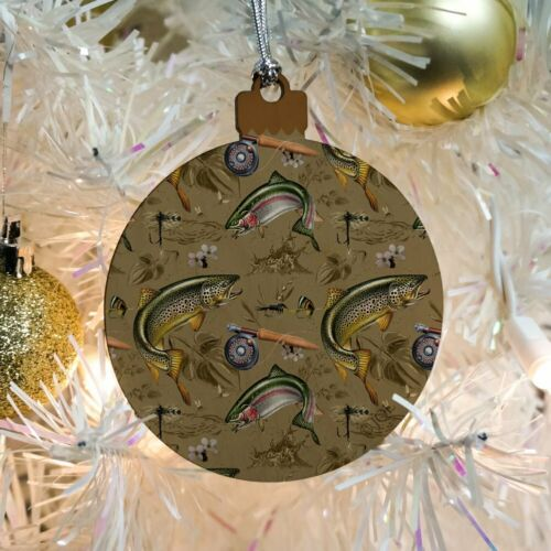 Trout Stream Fish Fly Fishing Rod Reel Wood Christmas Tree Holiday Ornament