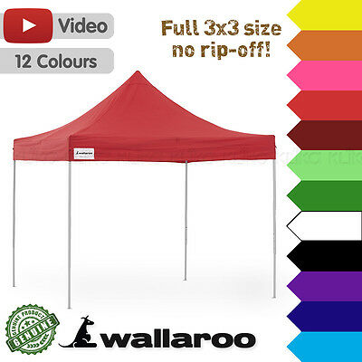 3x3 m WALLAROO PREMIUM POP UP OUTDOOR GAZEBO FOLDING MARKET TENT PARTY MARQUEE