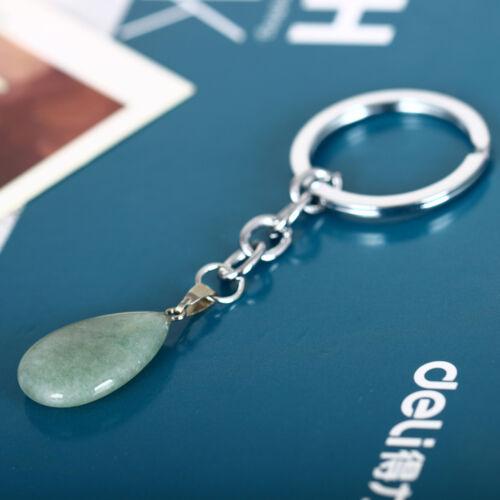 Fashion Bag Hot Quartz Keyring Key Natural Stone Healing Point Waterdrop Pendant
