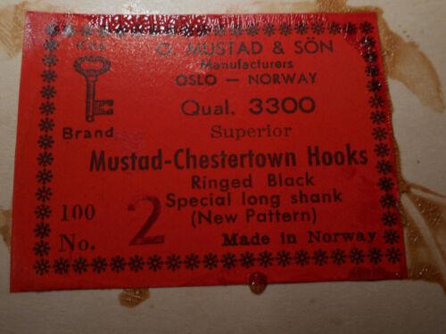 Mustad #2 fly tying NOIR Chestertown Crochets Spéciaux queue longue nouveau modèle 3300