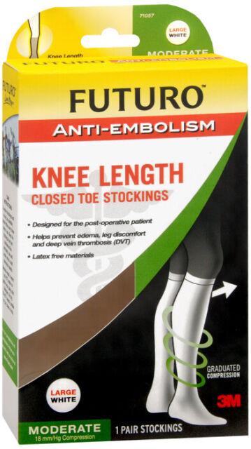 Futuro Anti-Embolism Knee Length Stockings, Closed Toe, White