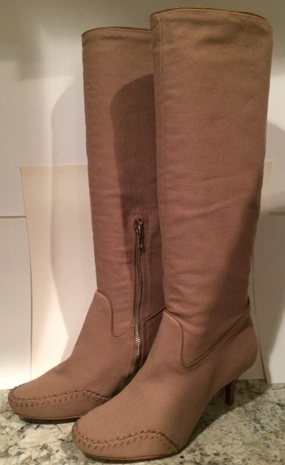 Max Azria Lexy Knee High Stiefel Leder Canvas Heels ( BCBG ) Taupe 39/8.5 Nice