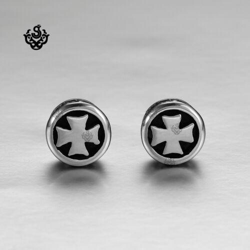 Silver earrings stainless steel cross stud unisex solid 2019 New Arrival