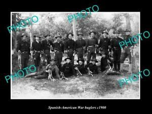 OLD-LARGE-HISTORIC-PHOTO-OF-SPANISH-AMERICAN-WAR-BUGLERS-GROUP-c1900