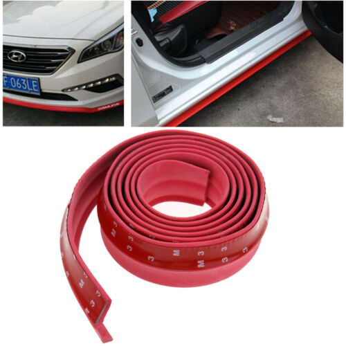 Car Front Bumper Lip Protector Body Spoiler Valance Chin Rubber Red 2.5