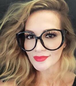 Oversized Large Big Round Cat Eye Clear Lens Boho Style ...