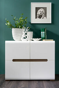 Image Is Loading White Gloss Sideboard Dresser Buffet 4 Door Cabinet