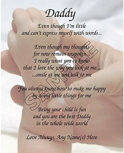 Daddy From Baby Personalized Poem Memory Birthday Father S