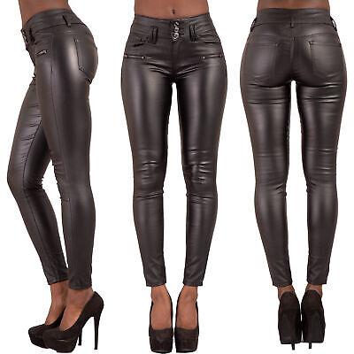 Entusiasta Le Donne Vita Alta In Pelle Nera Look Jeans Pantaloni Slim Fit Taglia 6 8 10 12 14-mostra Il Titolo Originale