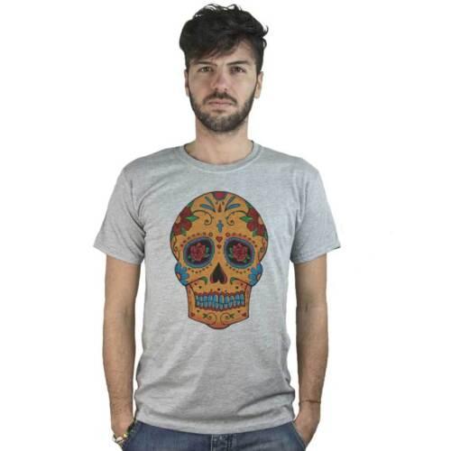 maglietta grigia stile Tatuaggio Rock T-Shirt Teschio Messicano con crocifisso