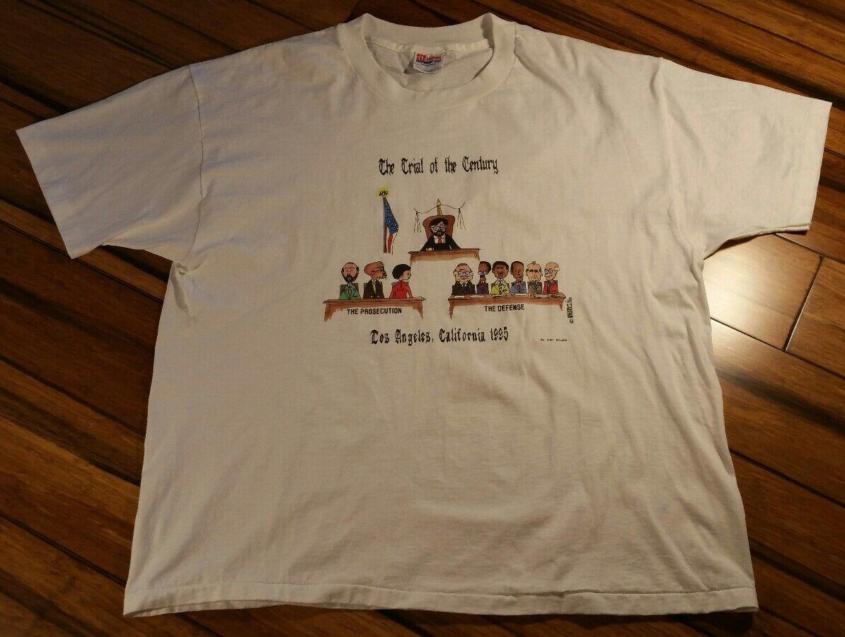 OJ Simpson Trial t-shirt vtg 90s hip hop white men's Hanes 50 50 cartoon sz XL