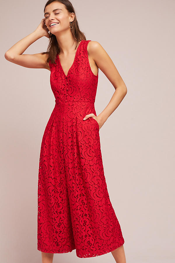 BNWT   Anthropologie Jaeda Lace Wide-Leg Jumpsuit Moulinette Soeurs Sold Out
