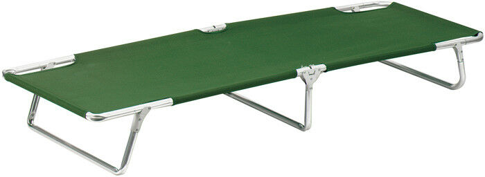 Sturdy Aluminum Camping Cot with Olive verde Nylon Material