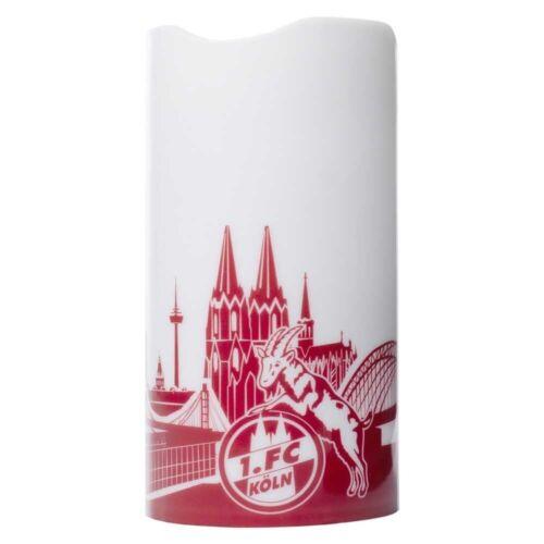 1 flammenlose Kerze plus Lesezeichen I lov FC Köln LED Motivkerze Skyline