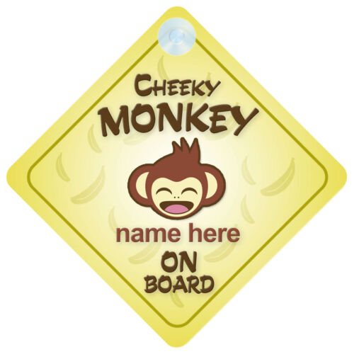 Cheeky Monkey On Board Personalised Baby//Child Car Sign