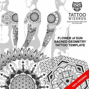 sacred geometry flower of sun tattoo template ebay
