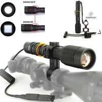 Tactical Cree L2 Led Zoomable Flashlight Torch 20mm Rail Mount Remote Switch Uk