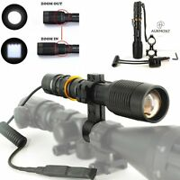 Cree Xm-l2 Led Tactical Flashlight Torch W/ Hunting R/g/b Filter /switch /mount