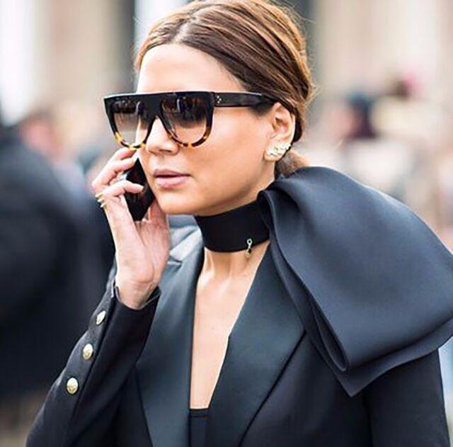 Black Oversized Shadow Sunglasses Flat Top Shield Women/'s Ladies High Quality