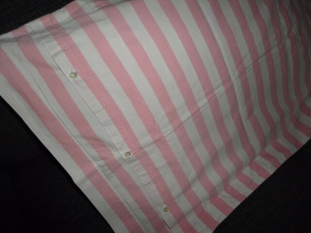 POLO RALPH LAUREN PINK & WHITE STRIPE BUTTON (1) STANDARD PILLOW SHAM 19 X 25
