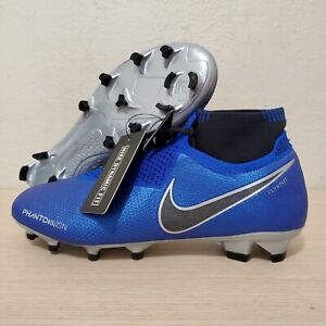 Nike-Phantom-Vision-Elite-DF-FG-Soccer-Cleats-Blue-Silver-Size-9-AO3262-401