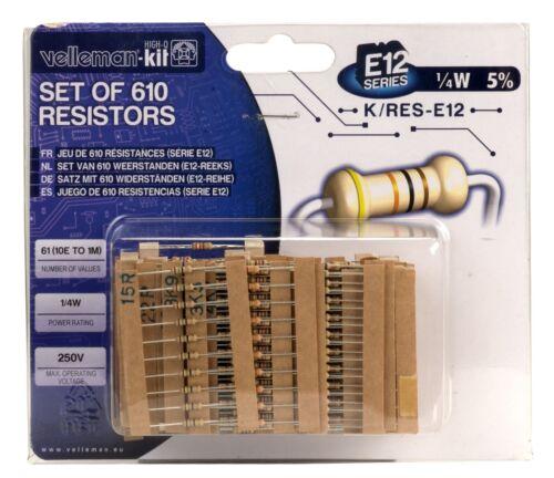 610 Piezas Carbon Film Resistor Velleman K//RES-E12 E12 Kit
