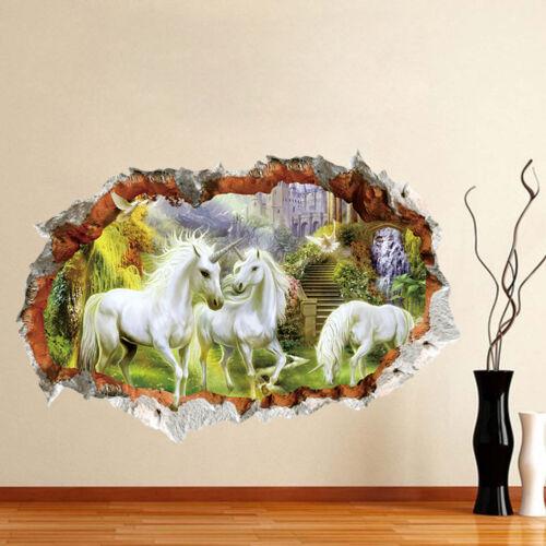 USA White Unicorn Horse 3D Wall Sticker Vinyl Decal Home Room Decor Mural Art