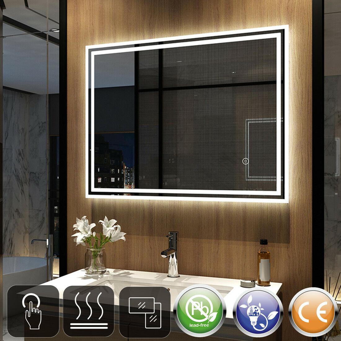 Badspiegel mit Beleuchtung 80x60 90x70 LED Touch Badezimmerspiegel Beschlagfrei
